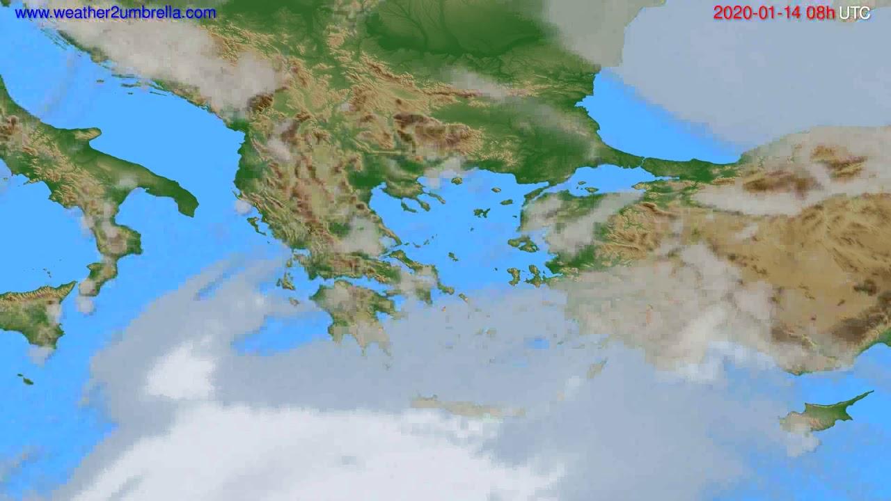 Cloud forecast Greece // modelrun: 12h UTC 2020-01-13