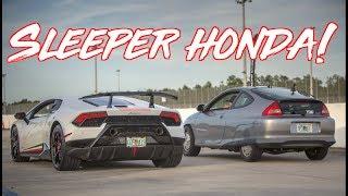 $7000 Sleeper Honda Hybrid Surprises Supercars! Lamborghini - GTR - Z06 Corvette