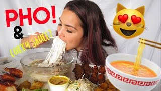 ENGLISH PHO MUKBANG 먹방 🍜 쌀국수 ASSORTED PLATTER | ROAD RAGE 🚗 StORY TiME