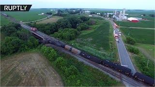Беспилотник облетел место крушения грузового поезда в Канаде