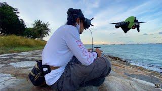 DJI FPV Chasing a Boat Raw footage (S-Mode) - Marina Coastal Dr - Windy Sunset