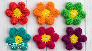 How to Crochet an Easy Spring Flower - Simple Flowers by Naztazia