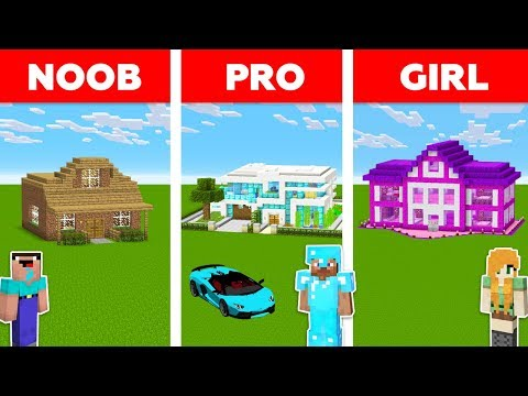 Minecraft NOOB vs PRO vs GIRL: HOUSE BUILD CHALLENGE in Minecraft / Funny Animation