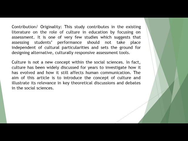 Culture as a Parameter in Assessing Students Performance