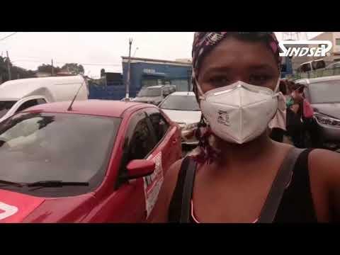Laudiceia Reis, diretora do Sindsep, no Ato da DRE Campo Limpo