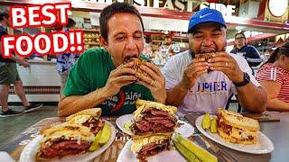 Reading Terminal Market FOOD TOUR - Huge PASTRAMI SANDWICH + Amish Breakfast in Philadelphia!!