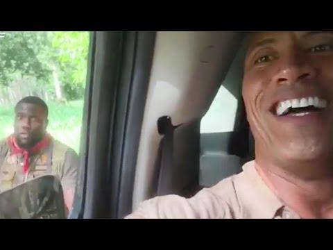 Kevin Hart Rips Into Dwayne 'The Rock' Johnson On Set of 'Jumanji' (видео)