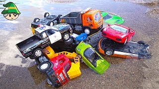 Car toy collection. Find the car in the dirt and water. Sand play site play