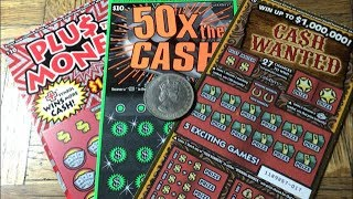 A Trio Of PLUS THE MONEY, 50X THE CASH, CASH WANTED California Lottery Scratcher Tickets