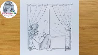 How To Draw A Girl Sitting On A Window || Bir Pencere üzerinde Oturan Bir Kız çizmek Için