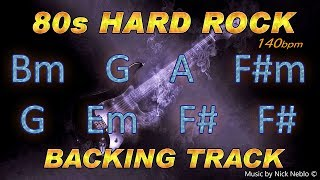 80s Hard Rock Guitar Backing Track B minor