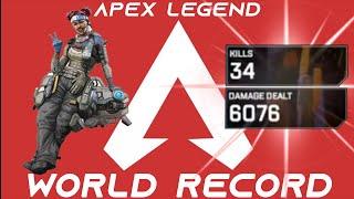 34 KILLS SOLO & 6K DAMAGE Apex Legends *NEW WORLD RECORD HOLDER*