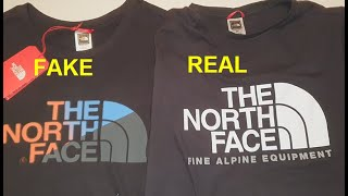 Real vs Good replica North Face T shirt. How to spot counterfeit The North Face