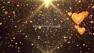 falling hearts black background | Golden hearts overlay | golden particles video | golden background