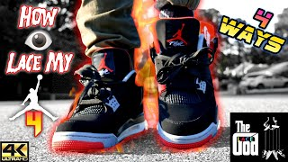 696310cf91b05d How I lace My Air Jordan 4 Bred 4 On Foot Different ways