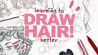THE SECRET TO DRAWING HAIR THAT AINT STRAIGHT?! | Filling A Spread In My Sketchbook