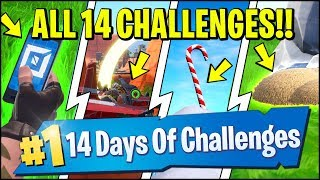 Search Chests & ALL 14 CHALLENGE LOCATIONS *24 HOURS LEFT* (Fortnite 14 Days Of Christmas)