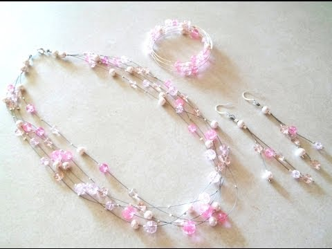 Download PandaHall Jewelry Making Tutorial Video--DIY Multistrand Glass Bead Floating Illusion Jewelry Set HD Mp4 3GP Video and MP3