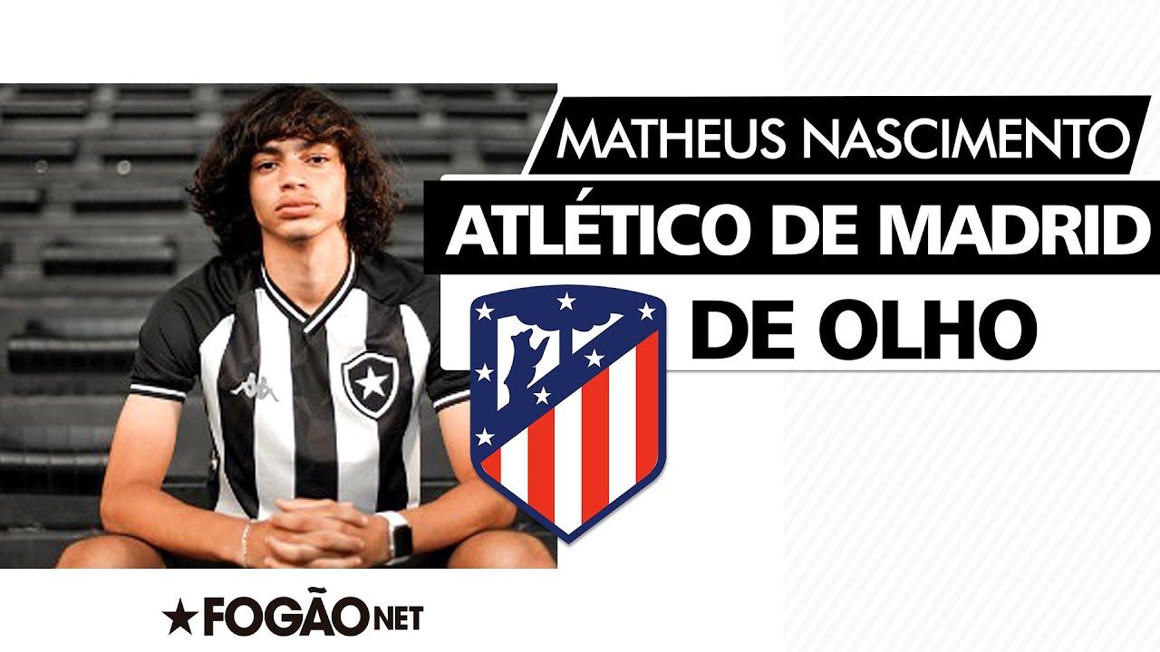 Atlético de Madrid procura Botafogo para ter preferência pelo atacante Matheus Nascimento