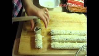 Смотреть онлайн Рецепт роллов с разными вкусными начинками