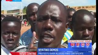 Nyatike residents protest over alleged fake nomination certificate by their MP