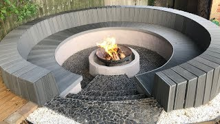 Circular Seating And Fire Pit Construction With Block & Composite