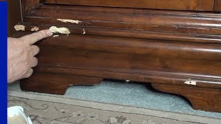 Furniture | How to Repair Chips or Dents | Furniture Touch up Ashley Furniture | Wine Cabinet | Ep 1