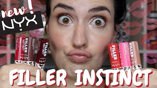 NEW NYX Cosmetics Filler Instict Plumping Lip Color | Lip Swatches + Review