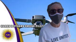 Karen Interrupts & Questions Brotha After Viewing Him Fly A Drone Over Homes For His Company