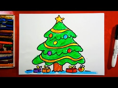 Как нарисовать ЁЛОЧКУ на Новый год! Открытка от РыбаКит