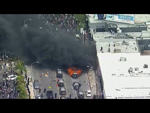 Violence erupts in Los Angeles amid protests over death of George Floyd