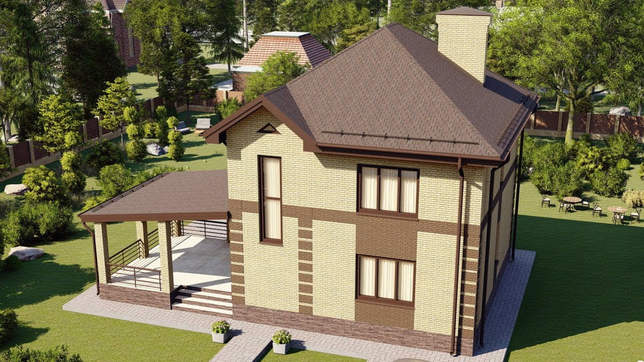 Современный загородный дом из блока 120 м2