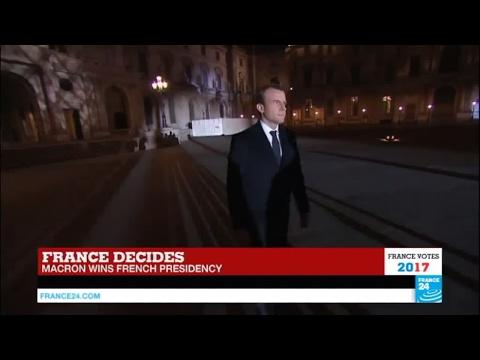 President-Elect Emmanuel Macron arrives at the Louvre