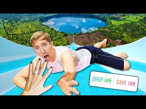 TRY NOT TO FALL Into The WORLDS BIGGEST BACKYARD WATER SLIDE Into POND POOL CHALLENGE (you Decide)