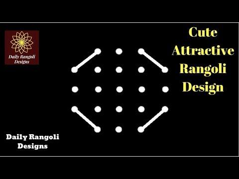 Cute Easy Rangoli Design 5X3X3 Dots   Simple Kolam Muggulu  Easy & Simple Deepam Kolangal #1369