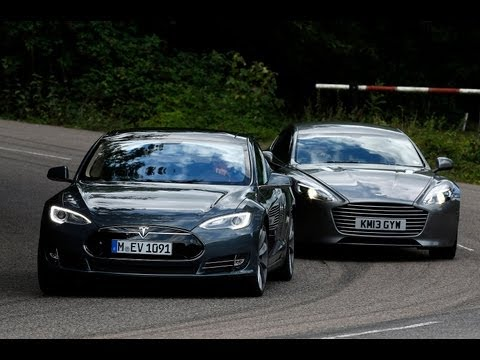 Tesla Model S takes on the Aston Martin Rapide S