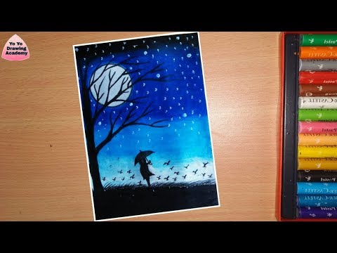 Alone Girl Night Scenery Drawing With Oil Pastels Step By Step