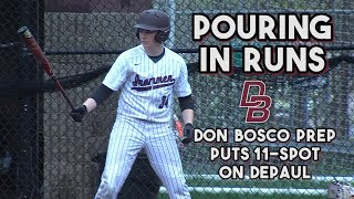 Don Bosco Prep 11 DePaul 1 | HS Baseball | Ironmen Pour in Runs in the Rain