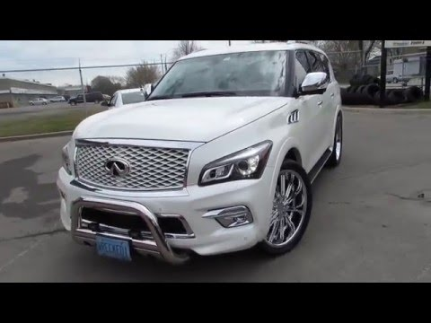 2015 INFINITI QX 80 RIDING ON CUSTOM 24 INCH CHROME RIMS & TIRES