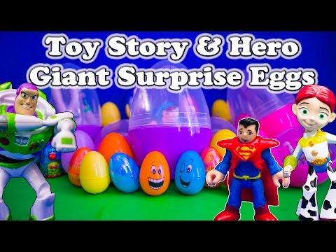 GIANT SURPRISE EGGS Toy Story & Super Hero Surprise Eggs Toys Video