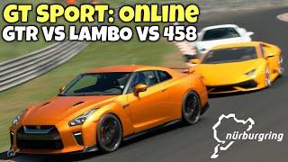 GT SPORT Online: Nordschleife - Three Car Battle - GTR vs 458 vs Lambo - N600