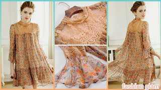 Chiffon Mini Dress/daytime Party Dresses/midi Outfits/floral Print Splicing Silk Shift Dress