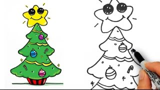How to Draw a Cute Christmas Tree Easy for Beginners