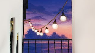 Painting Tutorial | String Lights Sunset Scenery | Acrylic Painting Tutorial For Beginners