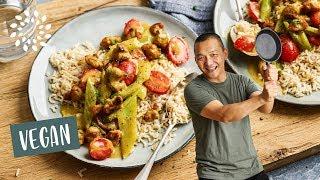 Curry mit Stangensellerie und Sojaschnetzel [Rezept] - Vegan