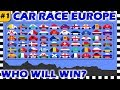 Country Cars Race Europe 2018 Part 1 - Algodoo - Who Will Win?