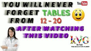 Learn Tables smartly from 12 to 20