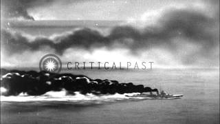 Naval Battle Between Allied And Japanese Destroyers During The Battle Off Samar N...HD Stock Footage