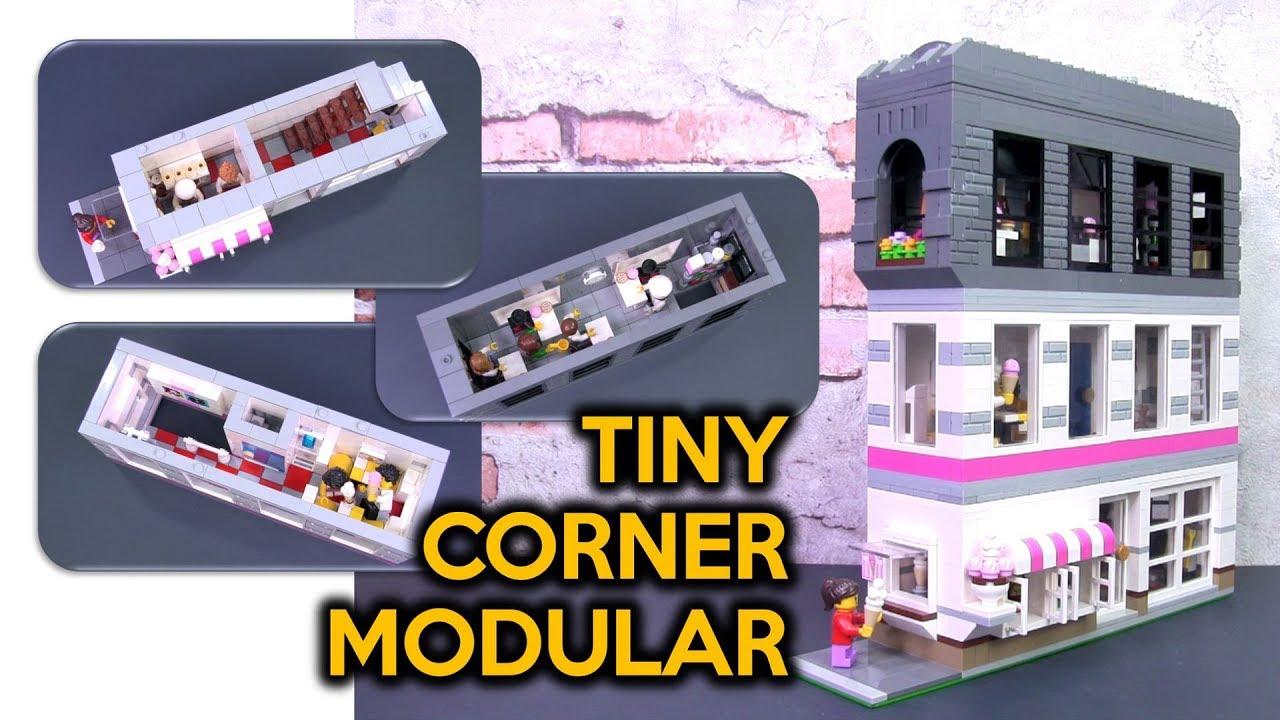 Tiny LEGO Corner Modular Building MOC - Ice Cream Parlour and Pastry School