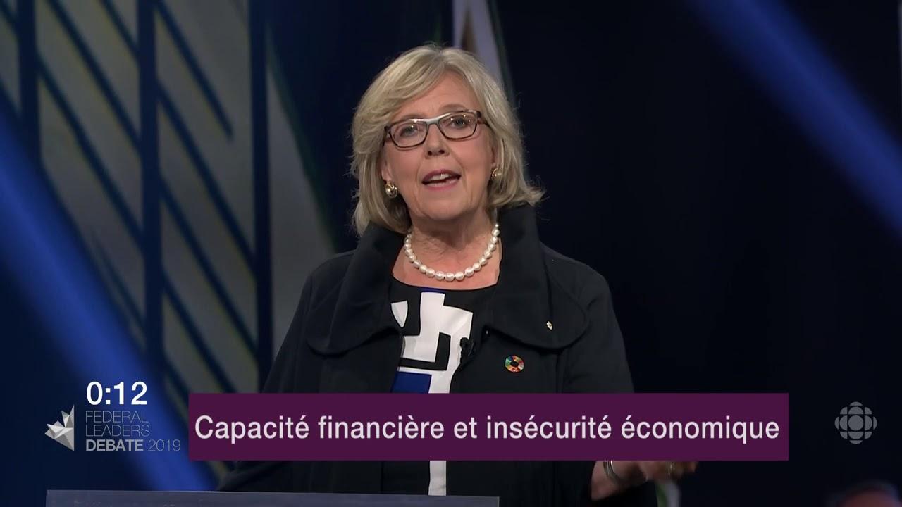 Elizabeth May répond à une question sur les inégalités de revenu et le coût de la vie